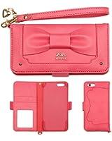 iPhone6s iPhone6 ケース 手帳型 カバー trouver Plie カード収納 鏡 ストラップ / リボン / ホットピンク