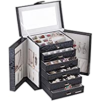 Large Jewellery Box Watch Beads Bracelets Rings Earrings Pins Cufflinks Storage Display Case 231 (Black)