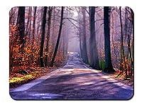 秋の道、木、霧、太陽 パターンカスタムの マウスパッド 旅行 風景 景色 (26cmx21cm)