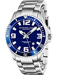 Stuhrling Original Men's 395.33U16 Aquadiver Regatta Champion Professional Diver Swiss Quartz Date Blue Bezel Watch/ストゥーリングオリジナル/腕時計/メンズ/並行輸入品