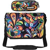 "BONNE Messenger Bag with Pencil Case Bargain Value Set, Laptop Messenger Bag Girls Women Females - 15.6"" Laptop Section - Exuberance Design"