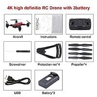ZD5-G GPS折りたたみカメラとデュアルカメラジェスチャ写真リモコン玩具機ヘッドレスモードオプティカルフローポジショニング-赤4K(広角/赤/ 3 *バッテリー)