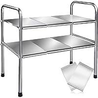 シンク下 伸縮棚 ステンレス製 キッチン収納 棚板x8 スペースラック2段 幅50~90cmまで伸縮可能 高度調整 組立…