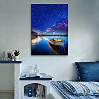E-HOME 輝く装飾画 港のボート る インテリア LED飾り絵 ledキャンバスプリントを LED光ファイバ飾り絵 (50x70cm*1pc)
