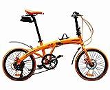 ハチコ HACHIKO 20インチ ジュラルミン 折り畳み自転車 SHIMANOシマノ7段 変速[98%完成品] (HA01) (オレンジ)