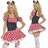 ディズニー セクシー ミニーちゃん メイド 衣装 ワンピース レディース コスプレ コスチューム クリスマス コスプレイベント 舞踏会 学園祭 変装 仮装 制服 衣装 服 女性 人気 大人用 女性 女子 女の子 Sexy Minnie Mouse Female Halloween Christmas Cosplay Costume (M:150cm-170cm)