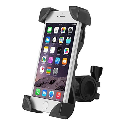MORECOO 自転車ホルダー スマートフォンマウントホルダー スマホ固定用ホルダー 旅行用バイクスタンド 360度回転携帯ホルダー 調整可能 iPhone/Andriodなど多機種対応 (ブラック)