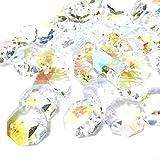 サンキャッチャー・アクセサリー用ガラスパーツ 14mm八角形(オクタゴン)二つ穴 クリスタルガラスビーズ レインボー(オーロラ)100個セット シャンデリアや暖簾に