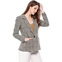 Allegra K Women's Plaid Notched Lapel One Button Houndstooth Blazer Jacket
