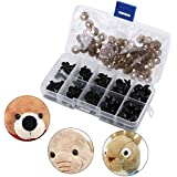 100pcs Plastic Safety Eyes with Washers for Doll Making, DIY Craft Kit Clear Black Safety Eyes 6-12mm with Gasket Teddy Bear Doll Animal Crafts