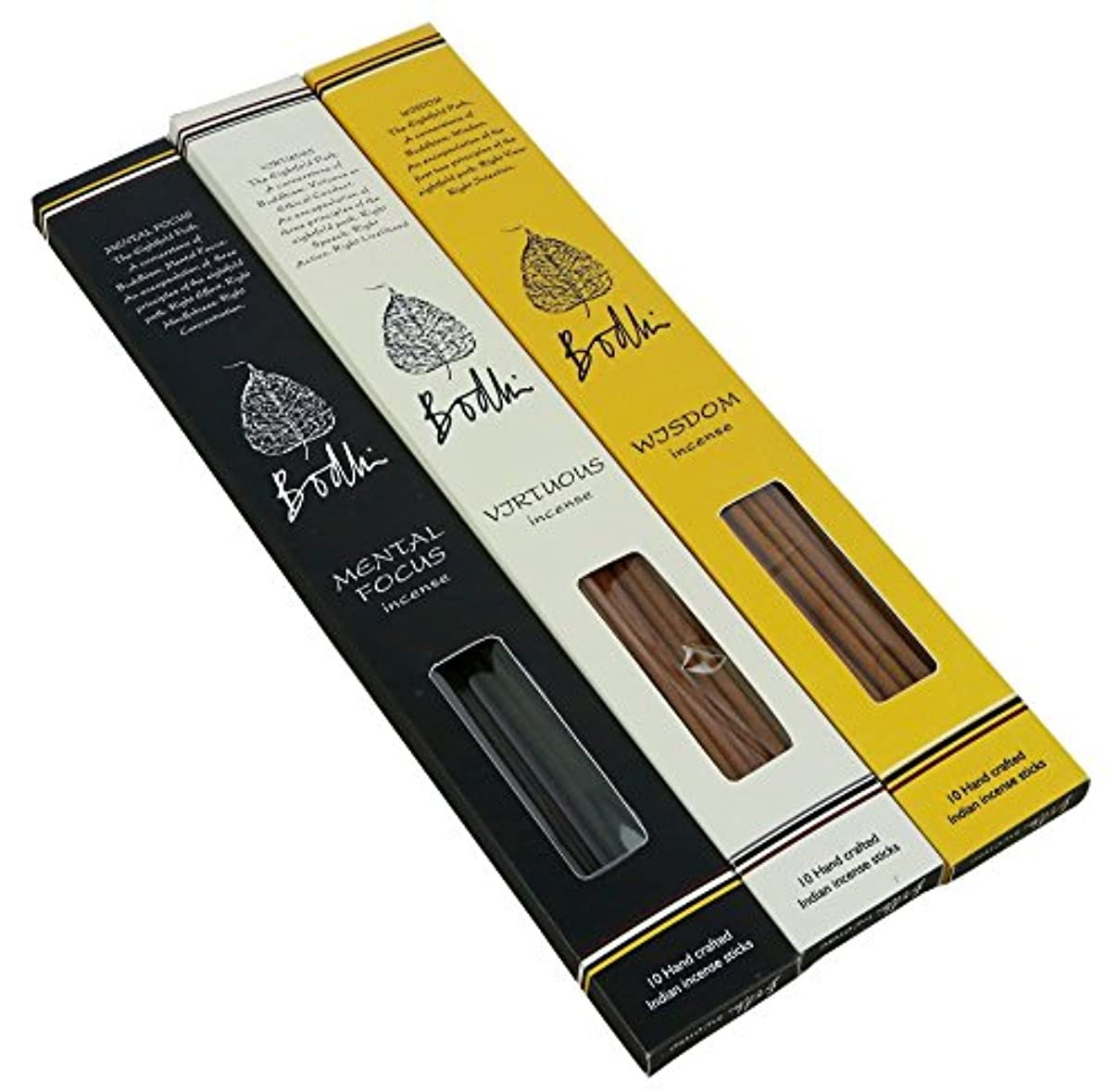 制約不良品ブラザーBodhi Buddhist Incense Sticks forホームTemple – Virtuous、知恵とMentalフォーカスFragrances、手作り合計30 Sticks
