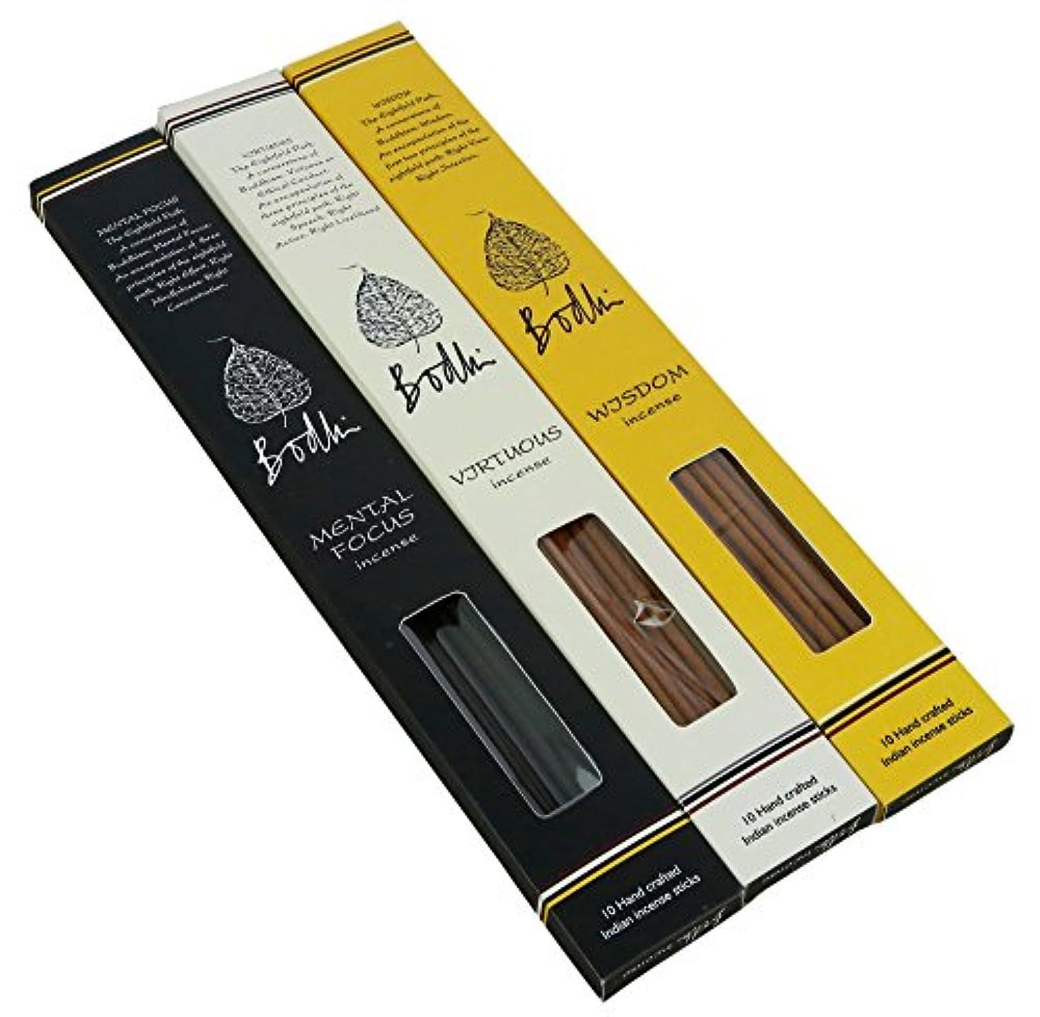 政治的出くわすアプライアンスBodhi Buddhist Incense Sticks forホームTemple – Virtuous、知恵とMentalフォーカスFragrances、手作り合計30 Sticks