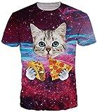 Amade メンズTシャツ半袖ピザ猫柄宇宙スリムネタオシャレレディースカジュアルお揃い-Jp069-70-M