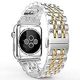 Fly Skyline 腕時計バンド Apple Watch i Watch 38 42mm アップルウォッチベルト ステレンス 金属 連結器等5点セット 黒 ブラック 7連駒 スマートフォンアクセサリ (42mm-金)