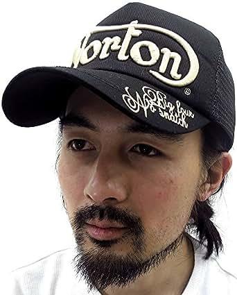 (ノートン) NORTON メンズ キャップ 帽子 立体 刺繍 マーク アポロキャップ メッシュ 男女兼用 2color Free ブラック
