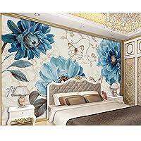 Wuyyii カスタム壁紙手描きの青い水彩花テレビソファ背景壁リビングルームの寝室の壁画3D壁紙-350X250Cm