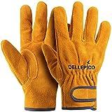 Dellepico 本牛革 耐熱 耐火グローブ 作業用手袋 BBQ キャンプグローブ アウトドア フリーサイズ オレンジ