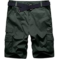 Wantdo Men's Casual Cotton Twill Cargo Shorts Basic Mens Shorts with Belt