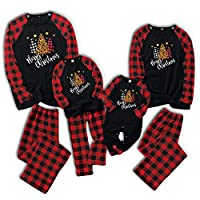 Matching Family Pajamas Sets Christmas PJs Red Plaid Tee and Pants 2-Piece Fall Winter Clothes Loungewear Sleepwear