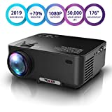 """Projector, Upgraded TENKER Projector, Now 65% Brighter, Mini Home Theater Movie Projector 4.0"""" LCD Up to 176-inch Display, Supports 1080P HDMI/USB/SD Card/AV/VGA TVs/Laptops/Games (Black)"""