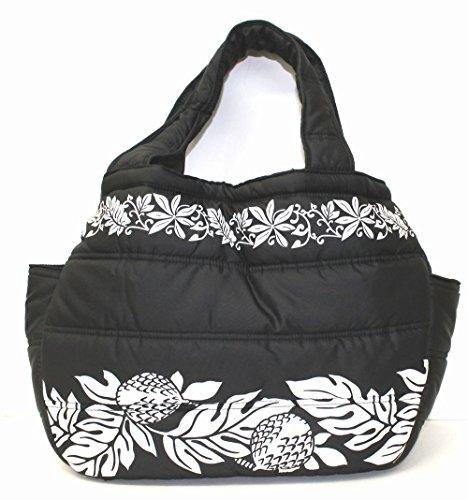 フララニ 中綿ミニ トートバッグ 巾着タイプ(C9245/ブラック) ハワイアン雑貨 ハワイ 雑貨