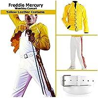 KAAZEE Yellow Freddie Mercury Wembley Mens Faux Leather Costume
