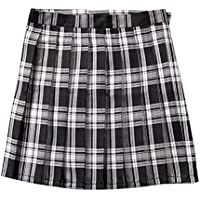 BoodTag Juniors Pleated Skirts Plaid High Waist Above The Knee A-Line Midi Dress