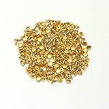 両面カシメ 特小 足並 頭4.6mm 足6mm ゴールド(真鍮無垢-キリンス仕上げ) 100個セット