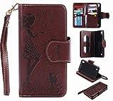Yiizy LG X Power K220DS K220 ケース 手帳型 ガール エンボス加工 カバー 本革ソフトレザー 対応 ケース カードポケット スタンド機能 マグネット式 財布型 カバー (の茶色)