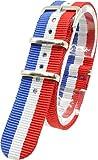 ( ブルー/ホワイト/レッド 20mm ) NATOタイプ 時計ベルト 腕時計ベルト ナイロン 2PiS 交換マニュアル付