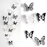 EQLEF® (36匹入り)部屋に蝶々飛んでる! 3D蝶のウォールステッカー インテリア 壁飾り おしゃれ  小、中、大3サイズ混合