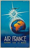 エアフランス–Rayonne Sur Le Mondeヴィンテージポスター(アーティスト: Maurus )フランスC。1946 16 x 24 Giclee Print LANT-63302-16x24