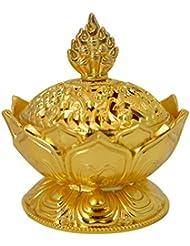 Buddha Lotus Flower香炉合金メタルIncense Holder Censerクリエイティブクリスマスプレゼント One Size ゴールド