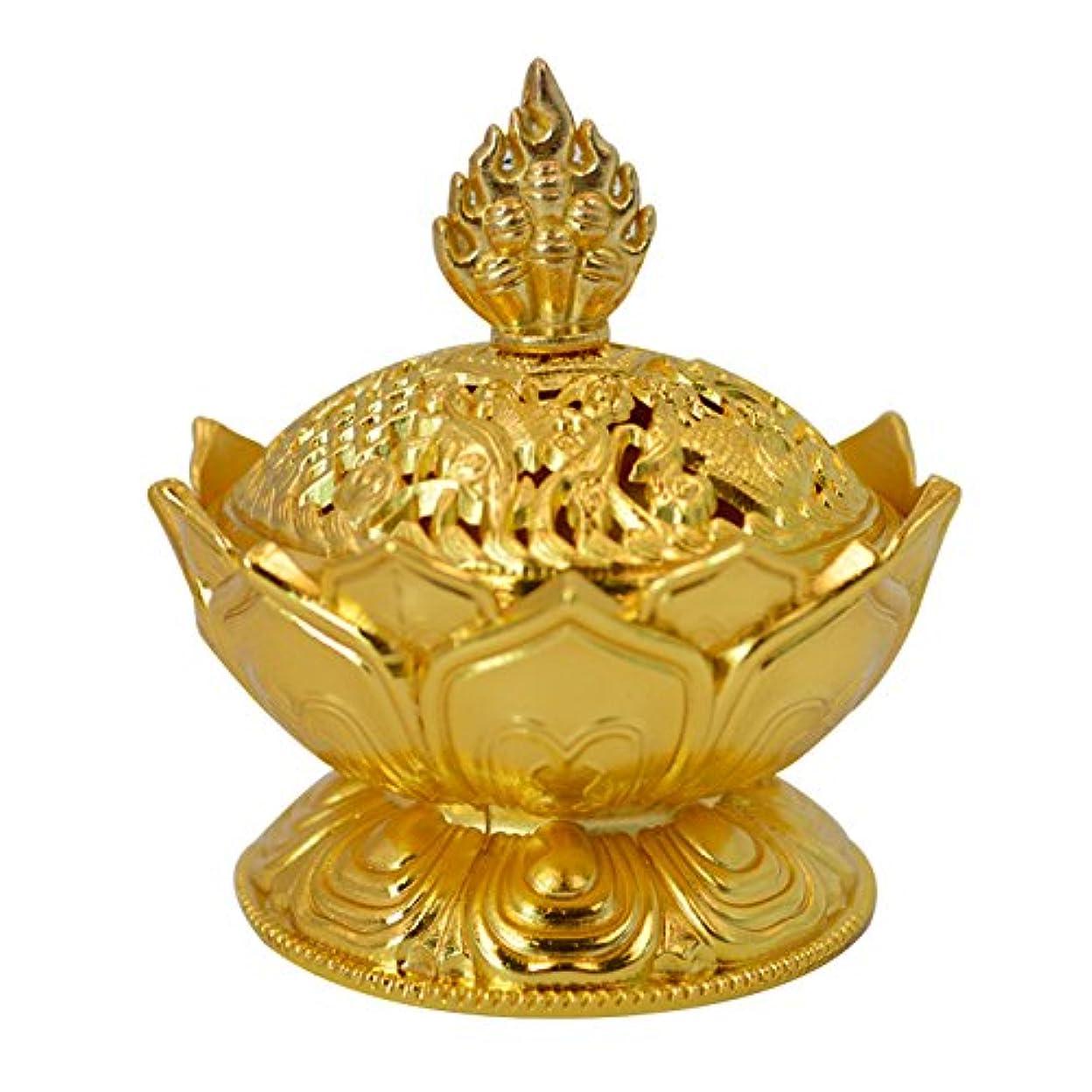 静かに誤洞察力のあるBuddha Lotus Flower香炉合金メタルIncense Holder Censerクリエイティブクリスマスプレゼント One Size ゴールド