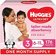 Huggies Ultra Dry Nappies Girl Size 3 (6-11kg) 1 Month Supply 176 Count