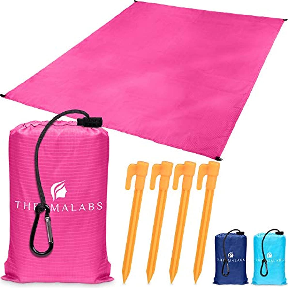先史時代のワゴンバンジージャンプThermalabs Ground Picnic Blanket for Beach & Park, Waterproof Sandless Pocket Mat, Compact Water Resistant Sheet for Travel, Hiking, Outdoor Camping, Seat Cover w/Stakes, Ziplock Bag & More! Pink [並行輸入品]