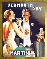 ベルモットDry Martini , 1930by D。Lubatti。フレーム付きヴィンテージ広告複製ポスター。カスタムMade Real木製モダンScratchedゴールドフレーム( 171/ 8x 211/ 8)