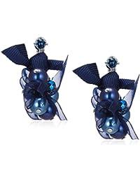 [ランバン オン ブルー] LANVIN en Bleu パール リボン シフォン イヤリング ネイビー LAPE0503 XB