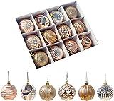SZsic 6cm クリスマス オーナメント 12個入り 銅金色 北欧風 ボールクリスマス ツリー 飾り 飾り付け (ゴールド)