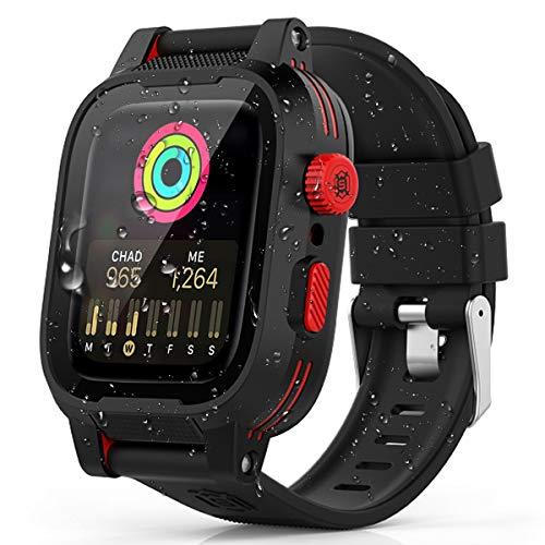 Apple Watch 44mm ケース バンド 一体 アップルウォッチ4 バンド カバー 落下衝撃 吸収 シリコンバンド 柔らかい スポーツに向け 交換バンド 装着簡単Apple Watch Series 4に対応(ブラック 44mm New モデル)