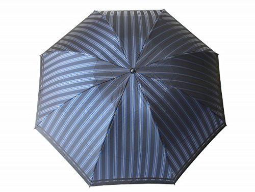 高級甲州織 メンズ 折りたたみ傘 「Tie」 ストライプ ✕ 無地 BLUE 青色 江戸時代から140年以上の歴史を持つ甲州織の老舗傘メーカー 槙田商店 紳士用 高級傘