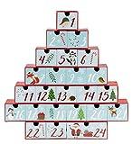Juvale アドベントカレンダー ? 大きなホリデートレジャーボックス クリスマスカウントダウン、クリスマスツリーの形のテーブル装飾、冬のお祝いデザイン、24番号付き引き出し、赤シアン、12 x 12.6 x 2.3インチ