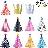 NUOLUX 三角帽子 誕生日 クリスマス パーティー小物 大人?子供兼用 (帽子x9、クラウンx2、玉x9)