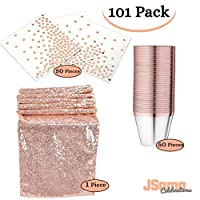 Rose Gold Party Decorations 101 Pack| 50 Pack Rose Gold Napkins + 50 Pack Rose Gold Elegant Rimmed Cups + a Beautiful Rose Gold Table Runner| for Parties Birthdays Thanksgiving Weddings 【You&Me】 [並行輸入品]