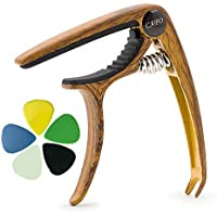 Hareda カポタスト ギターカポ ワンタッチ 安心安全 亜鉛合金製 ブリッジピン抜き機能 長持ち フォーク・エレキ・クラシック・アコースティックギター対応 5枚のピック付き