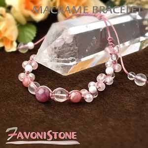 優しいピンク色で魅力的に ルビー インカローズ ピンクカルサイト ローズクォーツ ミルキークォーツ 編み込みブレスレット