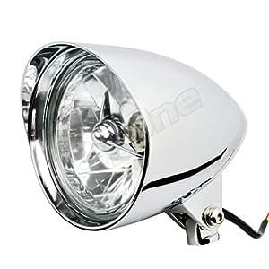 ヘッドライト Shell 5.5 ベーツ ライト アルミ製 FXSTS XVS1300A FL FXS XL883L VRSCAW ワイルドスター FXSTD FXDX FXDC マグナ250 FLHRC シャドウ400 イントルーダークラシック ブルーバード400 FXDWG FLHTCU FLSTFB VRSCB FLSTSB イントルーダー750