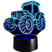 トラクターモーターカー3dデコライト自動車形状usb充電タッチスイッチランプカラフルな子供ナイトライト用ファームデコ