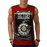 Wellcoda 電話 レトロ 写真 ビンテージ 男性用 赤 3XL 袖なしTシャツ