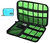 PC 周辺 小物 イヤホン 充電器 スマホ WI-FI コード モバイル AC アダプタ 用 収納 ポーチ ソフト ケース (light blue)